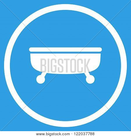 Bathtub vector icon. Style is flat rounded iconic symbol, Bathtub icon is drawn with white color on a blue background.