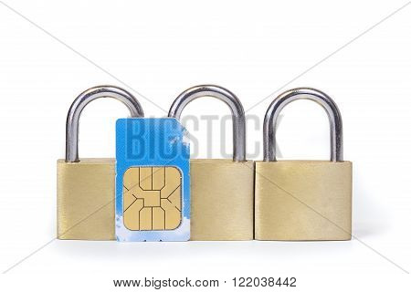 Three padlocks and a sim card mobile security concept