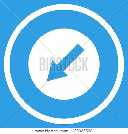 Down-Left Rounded Arrow vector icon. Style is flat rounded iconic symbol, down-left rounded arrow icon is drawn with white color on a blue background.