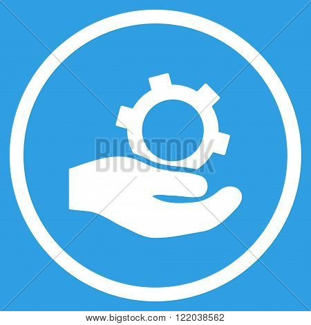 Engineering Service vector icon. Style is flat rounded iconic symbol, engineering service icon is drawn with white color on a blue background.