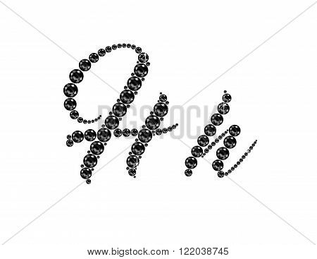 Hh in stunning Onyx Script precious round jewels isolated on white.