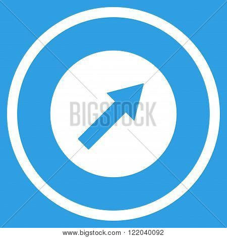 Up-Right Rounded Arrow vector icon. Style is flat rounded iconic symbol, up-right rounded arrow icon is drawn with white color on a blue background.