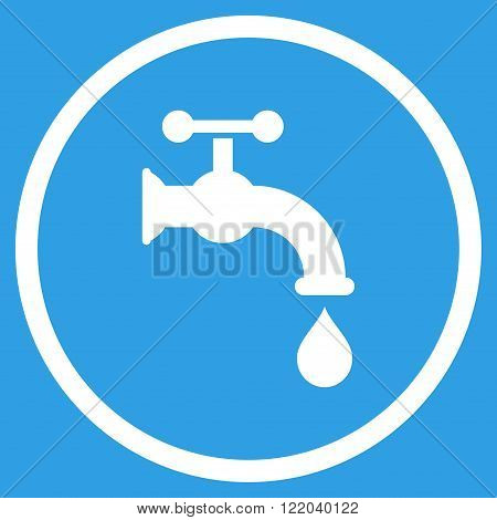 Water Tap vector icon. Style is flat rounded iconic symbol, water tap icon is drawn with white color on a blue background.