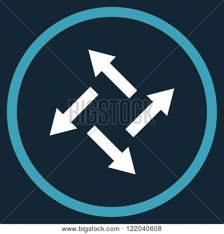 Centrifugal Arrows vector icon. Style is bicolor flat rounded iconic symbol, centrifugal arrows icon is drawn with blue and white colors on a dark blue background.