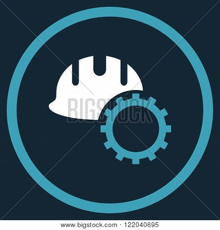 Development Hardhat vector icon. Style is bicolor flat rounded iconic symbol, development hardhat icon is drawn with blue and white colors on a dark blue background.