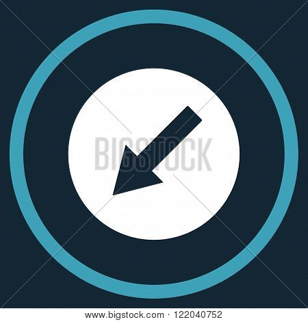 Down-Left Rounded Arrow vector icon. Style is bicolor flat rounded iconic symbol, down-left rounded arrow icon is drawn with blue and white colors on a dark blue background.
