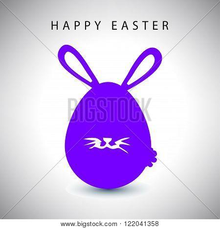 Vector illustration card of easter violet rabbit egg with whisker