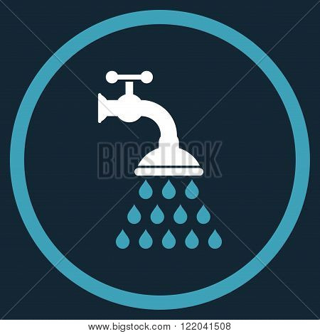 Shower Tap vector icon. Style is bicolor flat rounded iconic symbol, shower tap icon is drawn with blue and white colors on a dark blue background.