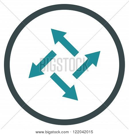 Centrifugal Arrows vector icon. Style is bicolor flat rounded iconic symbol, centrifugal arrows icon is drawn with soft blue colors on a white background.