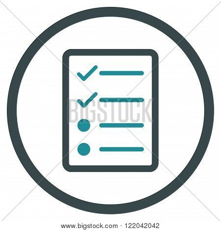 Checklist Page vector icon. Style is bicolor flat rounded iconic symbol, checklist page icon is drawn with soft blue colors on a white background.