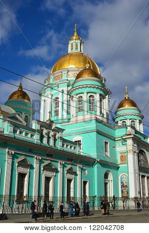 Moscow, Russia - March 14, 2016. Epiphany Cathedral on the street Spartakovskaya