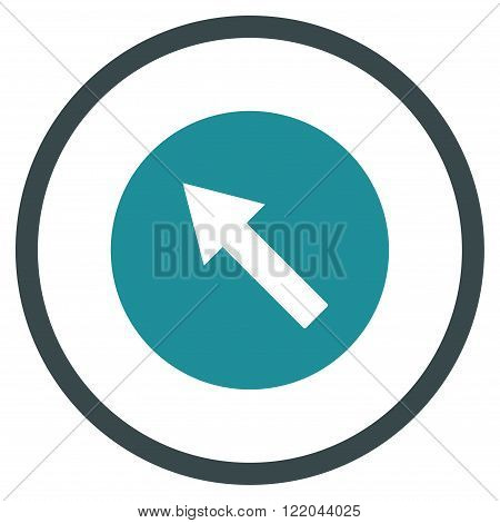 Up-Left Rounded Arrow vector icon. Style is bicolor flat rounded iconic symbol, up-left rounded arrow icon is drawn with soft blue colors on a white background.