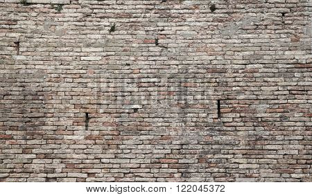 Old Grungy Dark Brick Wall, Close Up Background
