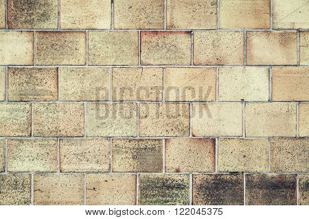 Old Wall Made Of Stone Blocks, Detailed Background