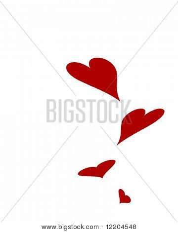 Floating hearts on white background