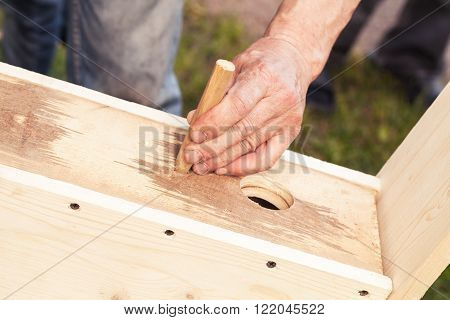 Birdhouse Made Of Wood Is Under Construction