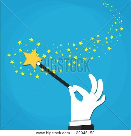 Cartoon Hand hold magic wand with stars sparks.