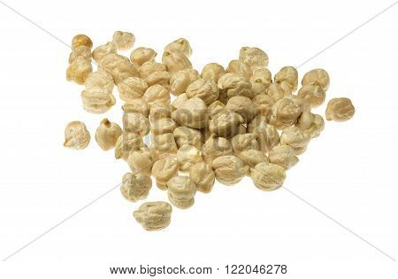 Garbanzo (chickpeas) seeds isolated on white background