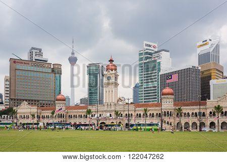 Kuala Lumpur Skyline At Merdeka Square