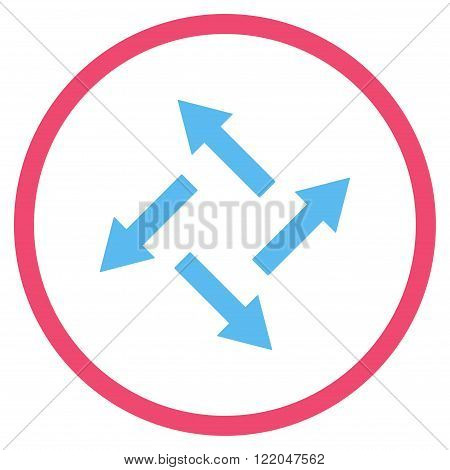 Centrifugal Arrows vector icon. Style is bicolor flat rounded iconic symbol, centrifugal arrows icon is drawn with pink and blue colors on a white background.
