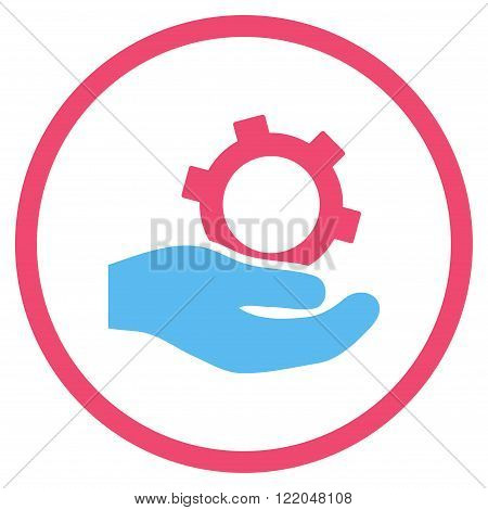 Engineering Service vector icon. Style is bicolor flat rounded iconic symbol, engineering service icon is drawn with pink and blue colors on a white background.