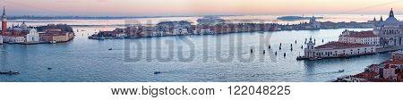 The Island of San Giorgio Maggiore. Venice city (Italy) sunset view. Panorama. All peoples unrecognizable