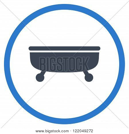 Bathtub vector icon. Style is bicolor flat rounded iconic symbol, Bathtub icon is drawn with smooth blue colors on a white background.