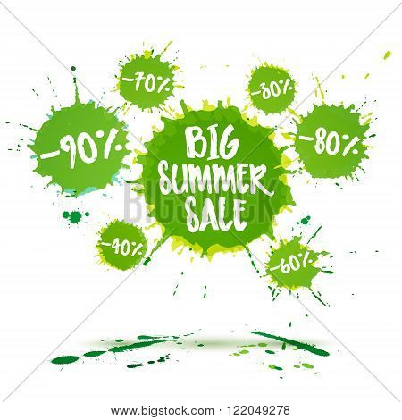 Big summer sale poster and summer sale banner. Vector watercolor banner with ink splashes. Sale badge. Vector illustration. Special offer and Big summer clearance offer.