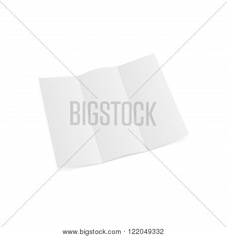 Trifold opened Paper Sheet Template. Vector Illustration