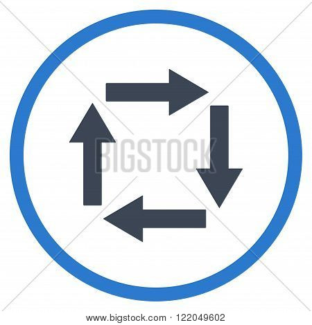 Circulation Arrows vector icon. Style is bicolor flat rounded iconic symbol, circulation arrows icon is drawn with smooth blue colors on a white background.