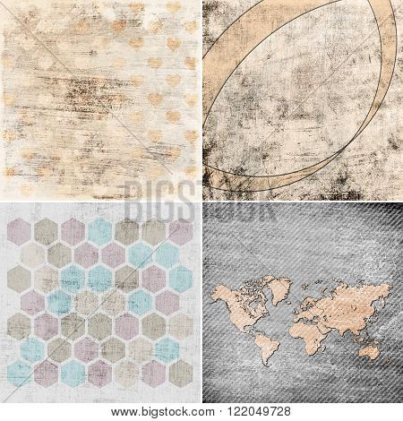 set of grunge backgrounds with map, hexagons and hearts