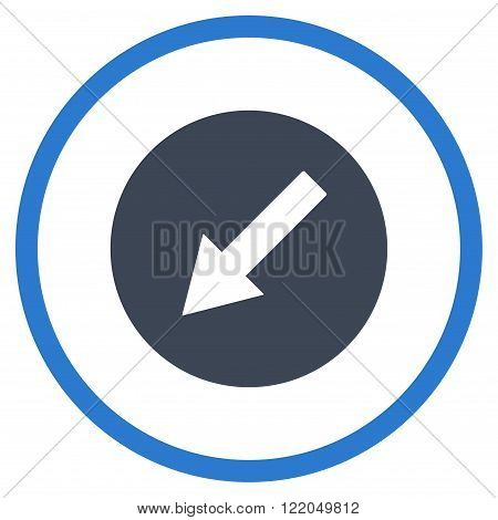 Down-Left Rounded Arrow vector icon. Style is bicolor flat rounded iconic symbol, down-left rounded arrow icon is drawn with smooth blue colors on a white background.