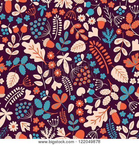 vector seamless pattern with organic motives autumn seson