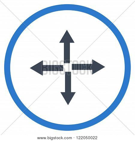 Expand Arrows vector icon. Style is bicolor flat rounded iconic symbol, expand arrows icon is drawn with smooth blue colors on a white background.