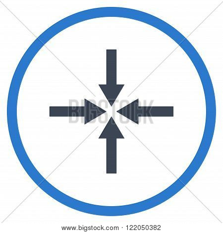 Impact Arrows vector icon. Style is bicolor flat rounded iconic symbol, impact arrows icon is drawn with smooth blue colors on a white background.