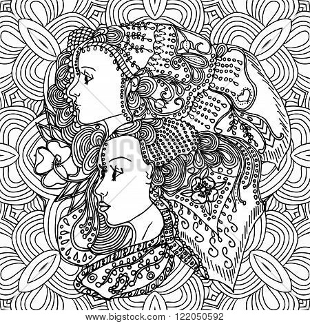 girls in doodle style with gorgeous hairs on doodle background. Can be used as card, invitation, background element, adult coloring book. Hand drawn style.