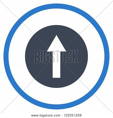 Up Rounded Arrow vector icon. Style is bicolor flat rounded iconic symbol, up rounded arrow icon is drawn with smooth blue colors on a white background.