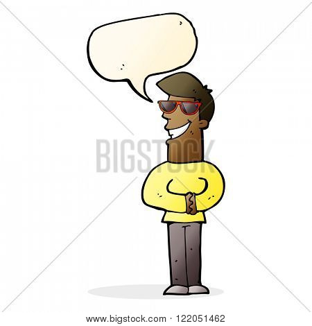 cartoon grinning man wearing sunglasses with speech bubble