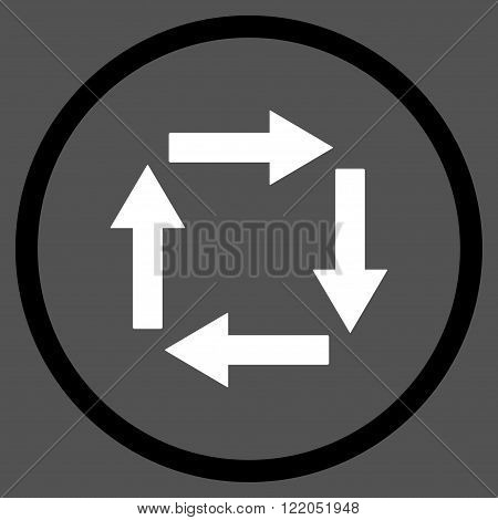 Circulation Arrows vector icon. Style is bicolor flat rounded iconic symbol, circulation arrows icon is drawn with black and white colors on a gray background.