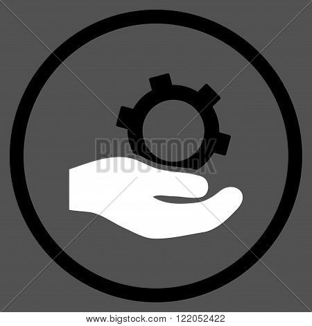 Engineering Service vector icon. Style is bicolor flat rounded iconic symbol, engineering service icon is drawn with black and white colors on a gray background.