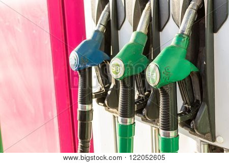 UFA - RUSSIA 13TH FEBRUARY 2016 - Gasoline hand pumps on display at a local gas station in Ufa Russia giving car drivers a choice of fuel.