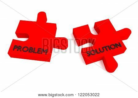 Red puzzle problem and solution, jigsaw on a white background