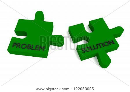 Green puzzle problem and solution, jigsaw on a white background