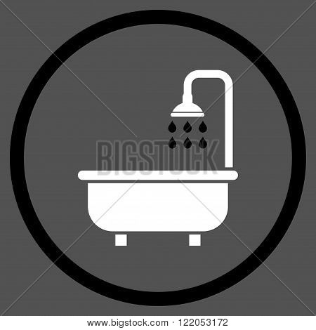 Shower Bath vector icon. Style is bicolor flat rounded iconic symbol, shower bath icon is drawn with black and white colors on a gray background.