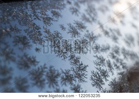 Frost patterns on a glass window creates winter themed patterns with a blue wintry sky background.