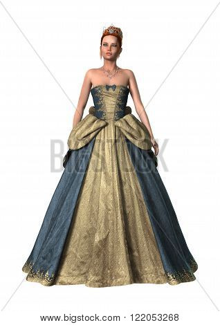 Digital render of a beautiful fairytale princess isolated on white background
