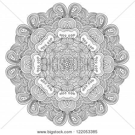 Black and white abstract pattern with leaves and flowers. Doodle. Hand drawn zentagles. Coloring book. Mandala. Can be used as adult coloring book, coloring page. Sacred geometry