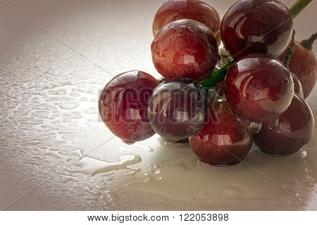 Bunch of red grapes in studio close-up with a mist of fresh water drops on a white background. Dark red vignette applied. Copy space area for menus or restaurant themed designs