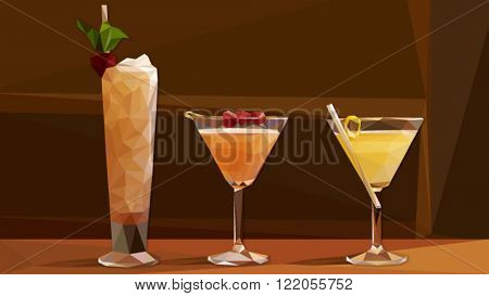 Low poly vector cocktails on a bar