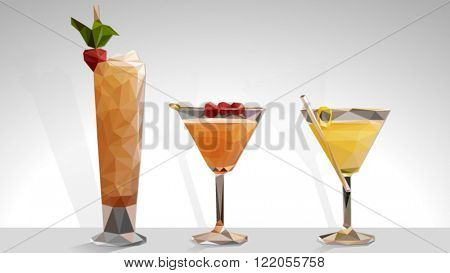 Low poly vector cocktails